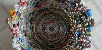 afvalbak van papier, van bovenop gezien