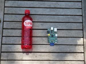 Raspberry Pi met plastic flesje